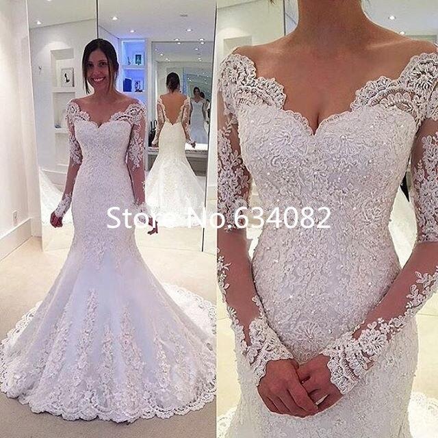 Vestido De Noiva 2017 Custom White V Neck Wedding Dresses Long Sleeves Amazing Good Looking Mermaid Style Bridal Wedding Gowns