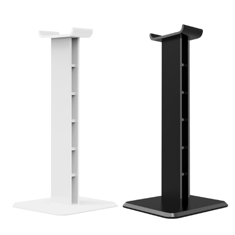 2 Pcs Headphone Holder ABS Stand Lightweight Stable Desktop Bracket with Sticker for Gaming Headphones Headsets, White & Black image