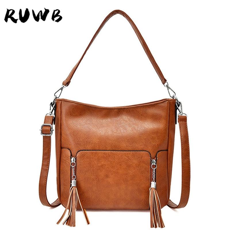 RUWB New Luxury Handbags Women Bags Designer Small Tassel Shoulder Bag Ladies PU Leather Street Fashion Tote Bags Sac Main Femme
