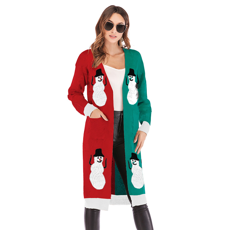 2019 Christmas Sweater Autumn Leopard Print Long Cardigan Women Long Knitted Long Sleeve Knitwear Outerwear Female Jumpers Tunic