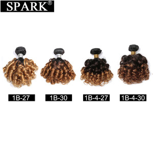 Image 5 - SPARK Human Hair Ombre Loose Bouncy Curly Bundles With Closure Brazilian Hair Weave Bundles With Closure Human Hair Extensions