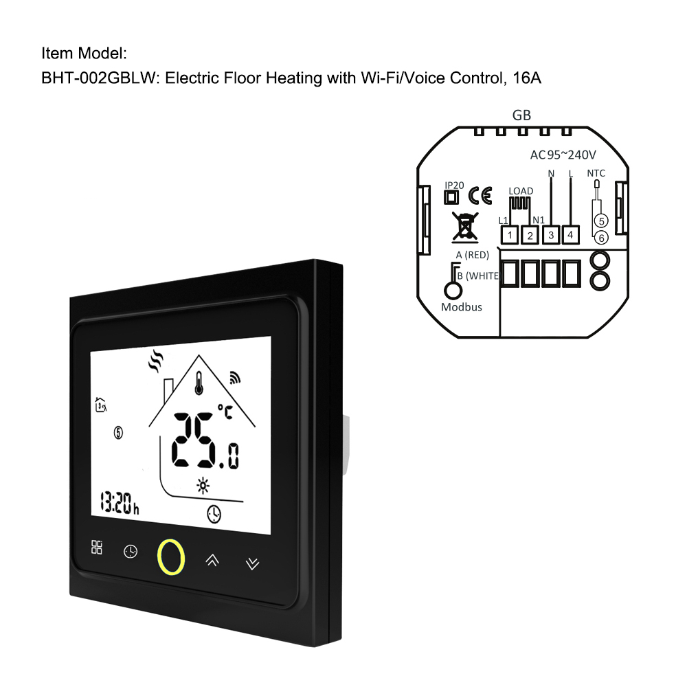 New BHT-002GBLW WiFi Digital Temperature Controller Thermostat For Gas Boiler Home Control Thermoregulator For Warm Room