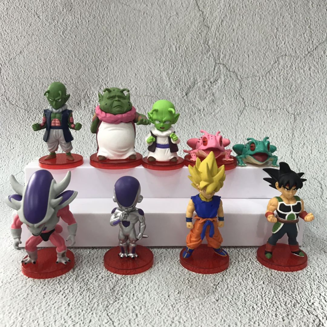8pcs/set Anime Dragon Ball Z Character Vegeta Goku Cute Version PVC Action Figure Model Toy