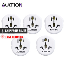 5PCS/Lot Universal Europe 16A EU Adapter Converter UK US AU to EU AC Wall Socket Plug Charger Travel Adapter 2 Round Pin