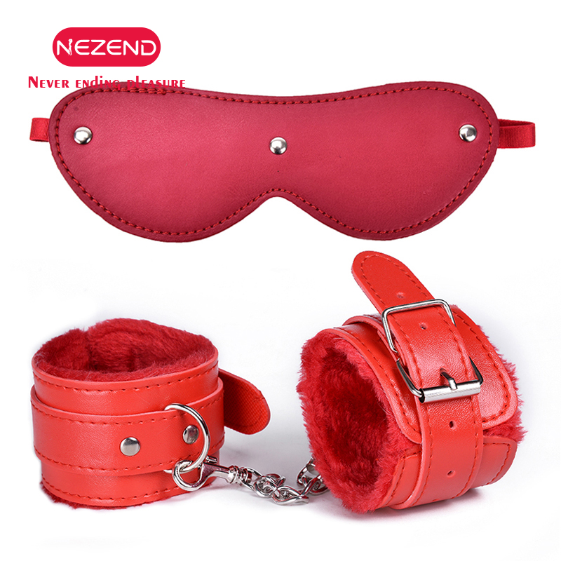 2PCS/Set Plush Metal Erotic Handcuffs Ankle Cuff Restraints With EyeMask SM Bondage Slave Sex Toys For Couple Adult Game Flogger