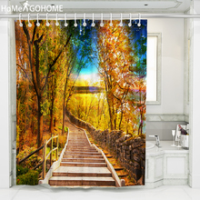 цена на Galaxy Decor Bathroom Shower Curtain Forest Starry Waterproof and Mildew Resistant Shower Curtain 3D Bath Curtain douchegordijn