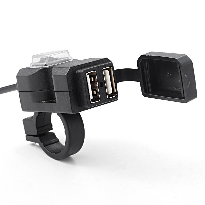 Otomobiller ve Motosikletler'ten Motosiklet Elektronik Aksesuarları'de Su geçirmez motosiklet gidonu şarj cihazı güç kaynağı soketi fiş adaptörü çift bağlantı noktalı USB cep telefonu 5V 1A/2.1A title=