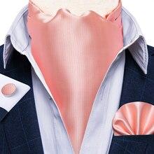 Party Classic Solid Pink Men Vintage Silk Cravat Ascot Tie