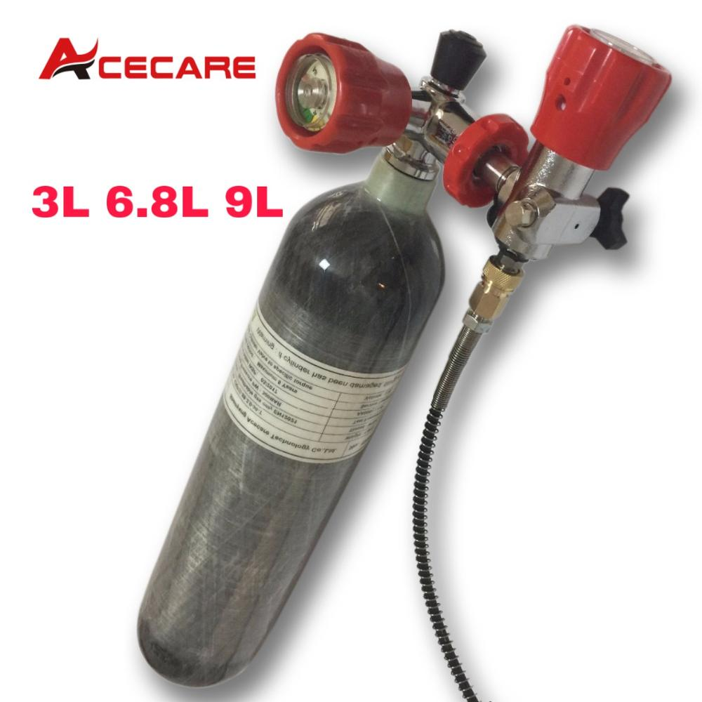 Acecare 3L/6.8L/9L CE Carbon Fiber Pcp Tank 4500psi Scuba Diving Air Tank Pcp Valve Filling Station Air Rifle Airforce Condor