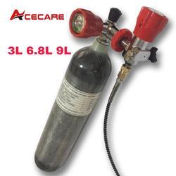 Acecare 3L/6.8L/9L CE Fibra De Carbono Tanque de Mergulho Tanque de Ar 4500psi Pcp Pcp Válvula de Enchimento Estação rifle de ar airforce Condor