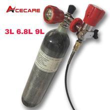 Acecare 3l/6.8l/9l ce 탄소 섬유 pcp 탱크 4500psi 스쿠버 다이빙 에어 탱크 pcp 밸브 필링 스테이션 에어 라이플 공군 콘도르