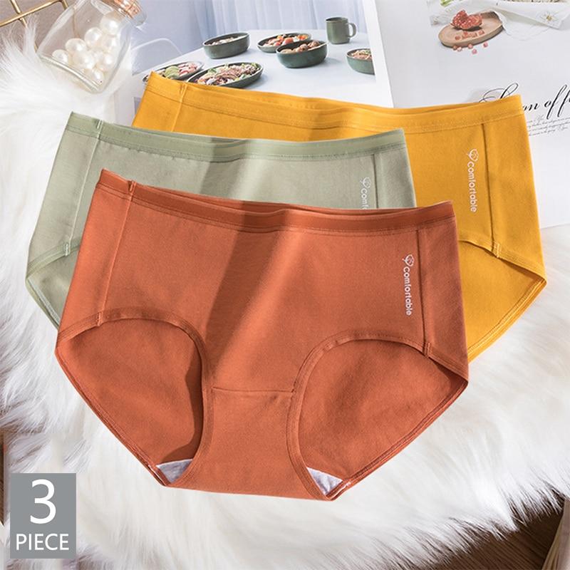 3pcs/Pack! High Waist Cotton Women Briefs Comfortable Solid Color Panties