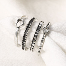 4Pcs /Set Vintage Sliver Color Rings Set for Men Women Retro Crystal Rings Set Herat Fashion Jewelry Women Charm Ring Love Ring resin rings dried flower transparent women handmade ring charm men vintage wedding ring party jewelry romantic couple ring