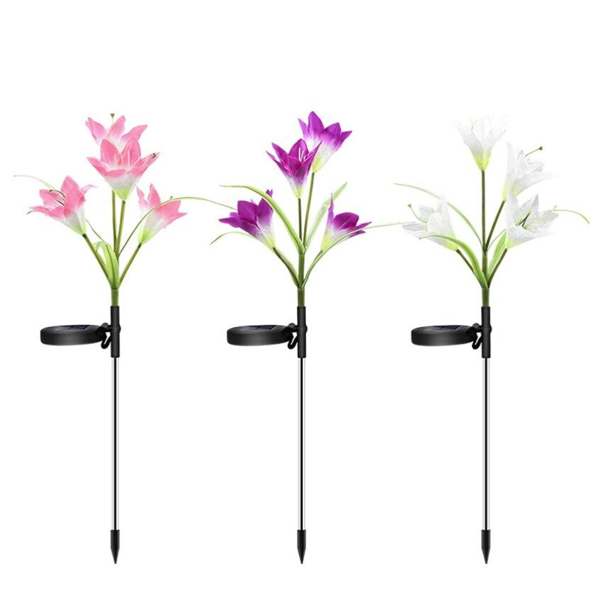 3PCS/Set LED Solar Lily Seven-color Discoloration Lanterns Outdoor Decorative Lawn Lights Lanterns Solar Garden Light