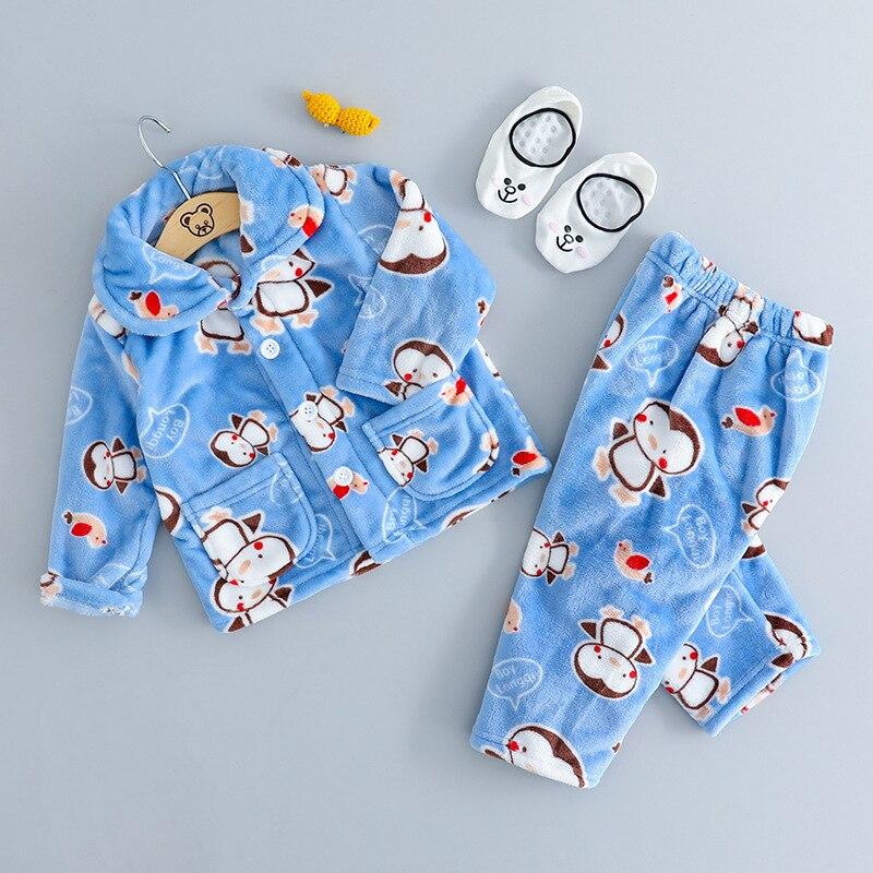 Baby Pajamas 2019 Autumn And Winter Childrenswear Men And Women Children Cartoon Plush Homewear Set Children Women's Robes