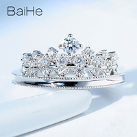 BAIHE Solid 14K White Gold 0.34ct H/SI Round Natural Diamonds Wedding Ring Women Trendy Fine Jewelry Gift Crown diamond Ring