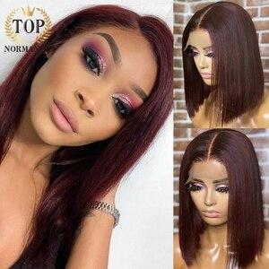 Topnormantic парик из натуральных волос на фронте темно-99J короткий парик с Бобом прямые волосы индийские Remy человеческие волосы парик с предвари...