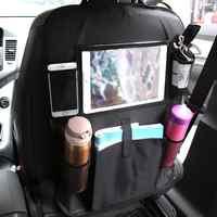 Organizador de asiento de coche para niños, Protector de asiento trasero de coche con bolsa de almacenamiento de varios bolsillos, soporte para mesa de iPad