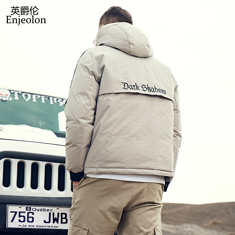 Enjeolon 2019 New Winter Jacket Windproof Male Thick Black Fashion Men's Parkas Casual Man Hooded Coats High Quality YR926