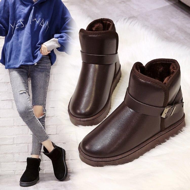 Большие размеры, женские зимние сапоги с плюшевой подкладкой; Теплая обувь из материала на основе хлопка Нескользящие ботинки для учащихся ...
