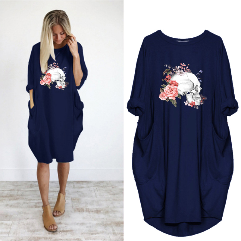 Women Loose Dresses Long Sleeve Dress Plus Size Harajuku Skull Print Casual Robes Femme Vintage o Neck Pocket Party Vestidos 219