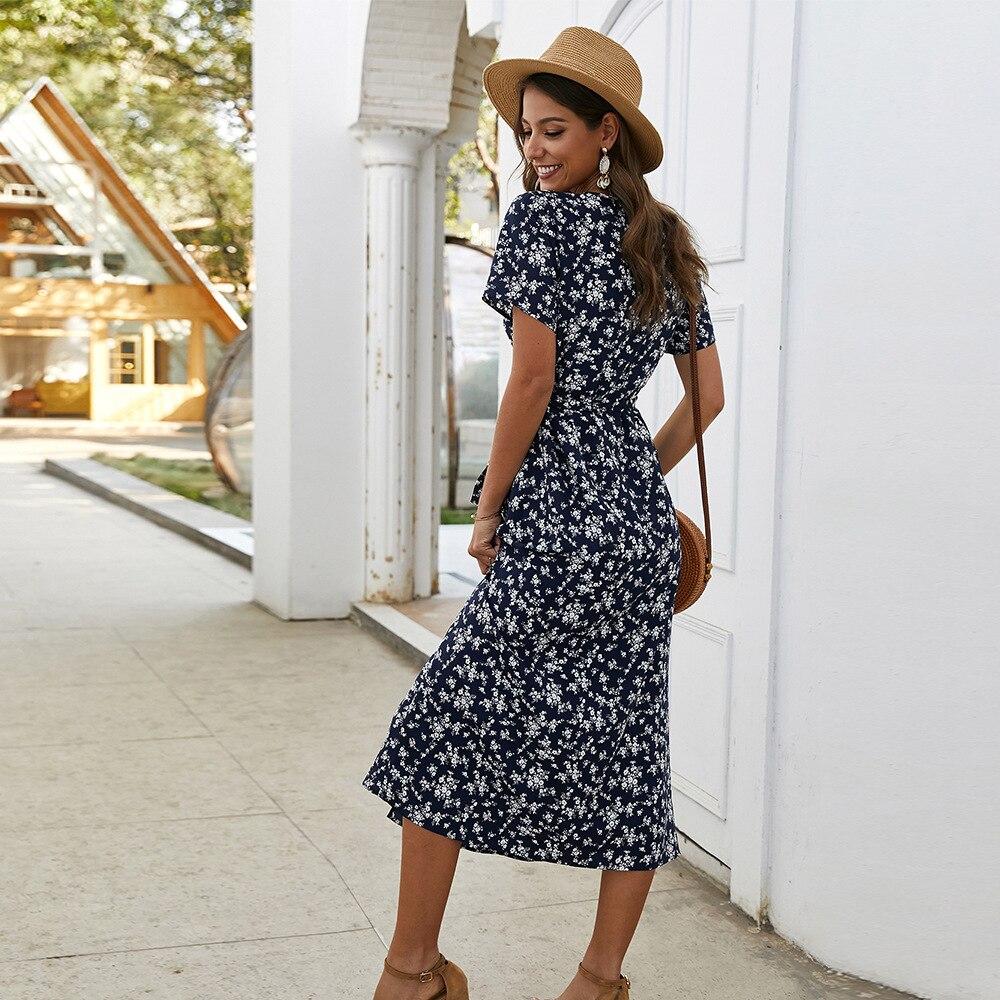 Elegant Floral Printed Boho Dress A-Line Ruffles V-Neck Short Sleeve Bow Sashes Ruched Midi Dress Women Casual Summer Dress 2020 3