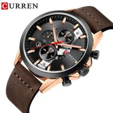 CURREN Black Mens Quartz Wristwatch Brown Leather Waterproof Watches Calendar Dial Luxury Sport Men Dress Clock