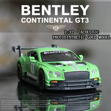 1:32 Bentley GT3 car model racing super sports simulation collection gift pull-back vehicle