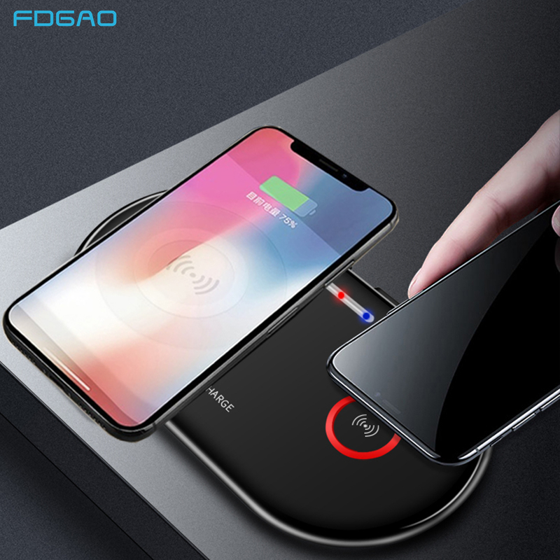 Dual 20W Fast Wireless Charger for iPhone XS XR X 8 Airpods 2 Double 10W USB C Qi Charging Pad For Samsung S10 S9 S8 Note 10 9 8