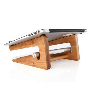 Vmonv Increased Height Cooling Bamboo Laptop PC Stand for Macbook Air Pro Retina Vertical Base Bracket for 15 Inch Notebook PC