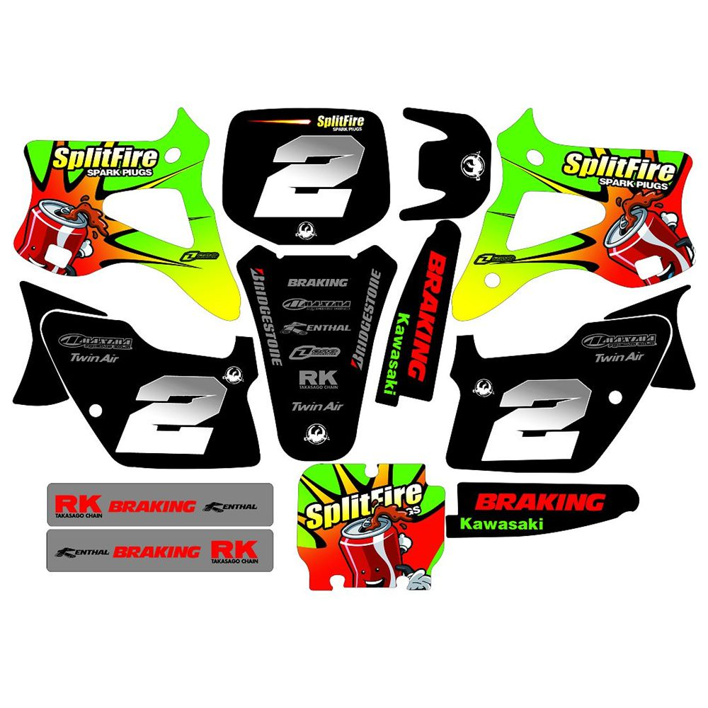 New Full Graphics Decals Stickers Custom Number Name 3M Matte Stickers For Kawasaki KX125 KX250 1994 1995 1996 1997 1998
