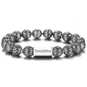 Image 5 - Trendsmax 10mm lüks 925 ayar gümüş boncuk bilezik erkekler kadınlar için streç enerji bilezik erkek hediye TBB021
