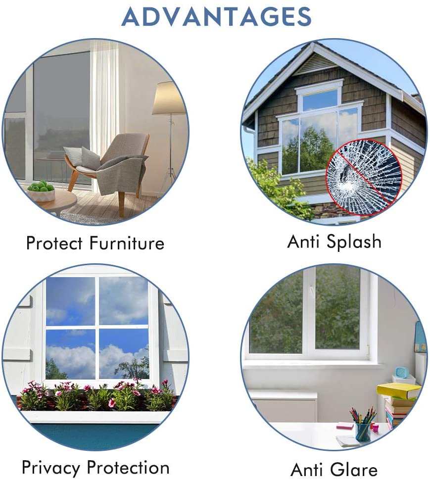 Mirror Reflective Window Film One Way Vision Solar Window Tint Vinyl Glass Self Adhesive Control Film Privacy Sticker for Home 3