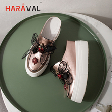 HARAVAL Spring and summer new fashion round head bow sandals handmade leather ladies slippers outside high heels women shoes T32