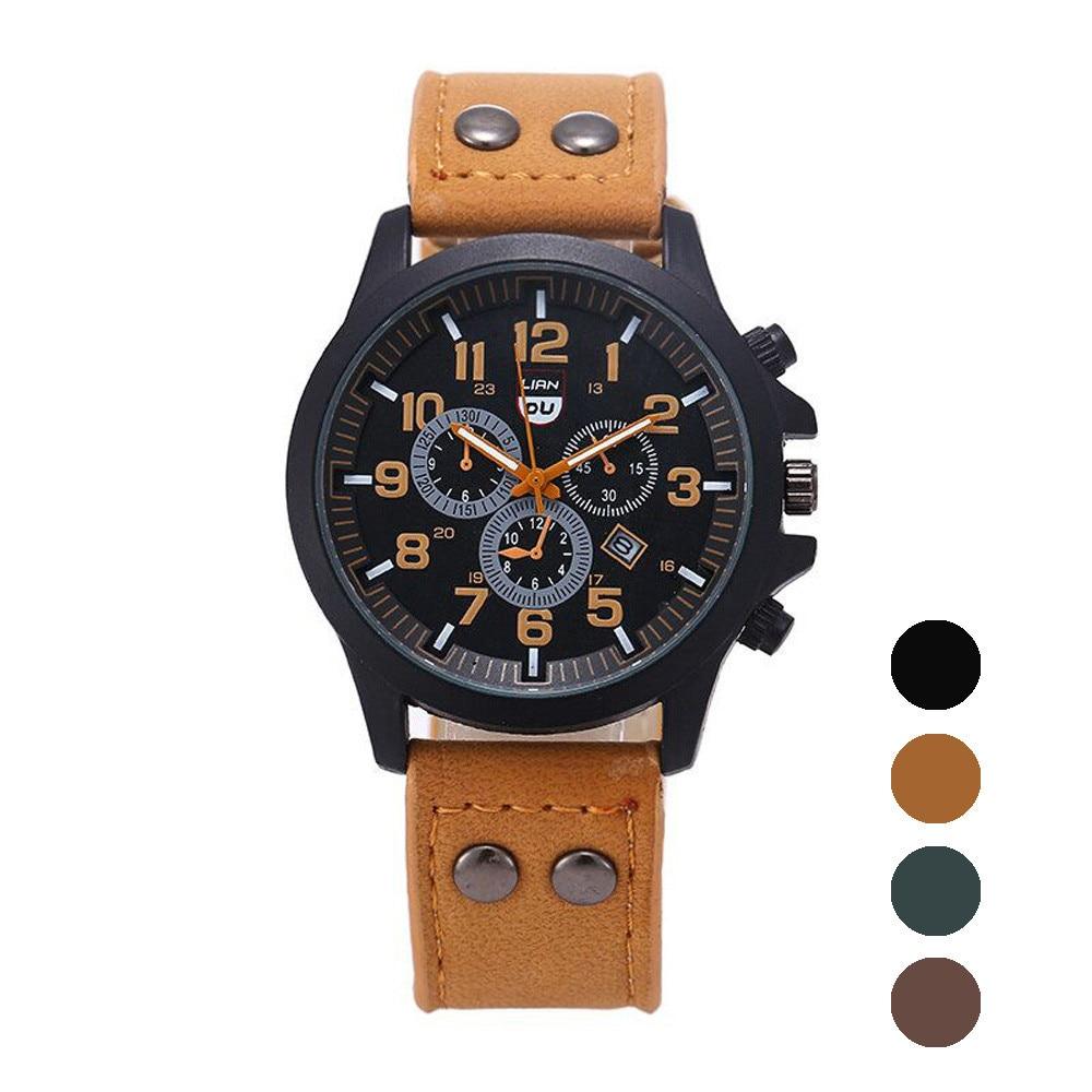 Men's Watch Men's Watch 2020 Top Luxury Brand Sports Watch Men's Fashion Leather Strap Calendar Men's Black Military Watch