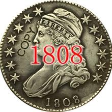 США(1807-1836) 27 монет с закрытым бюстом, Надпись EDGE половина копия доллара монеты