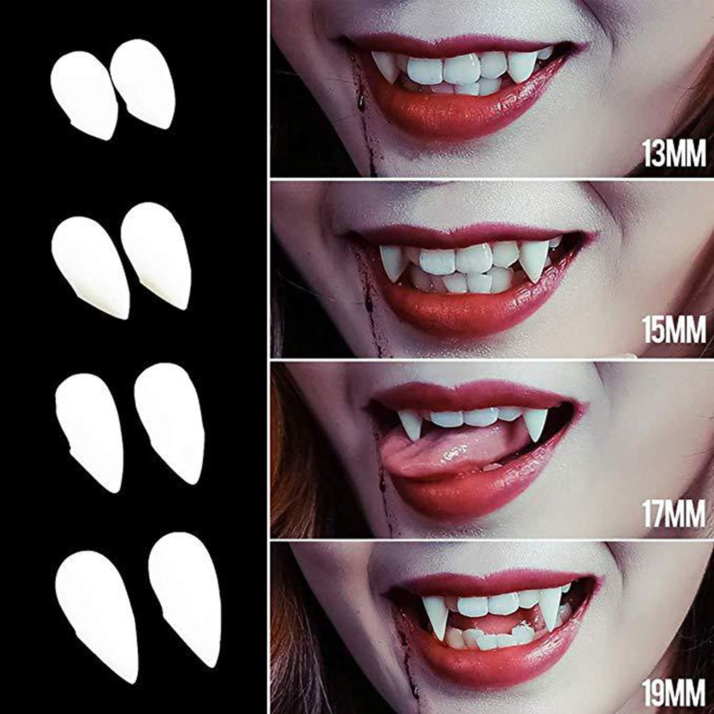 2pcs Cosplay Halloween Dentures Zombie Vampire Teeth Ghost Devil Fangs Werewolf Teeth Box Packed Gift Prop Costume Party Kid Toy