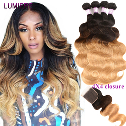 Lumiere Hair Brazilian Hair Weave Bundles With Closure Ombre Body Weave Human Hair 4 Bundles With 4x4 Closure 1B/4/27 Non-Remy