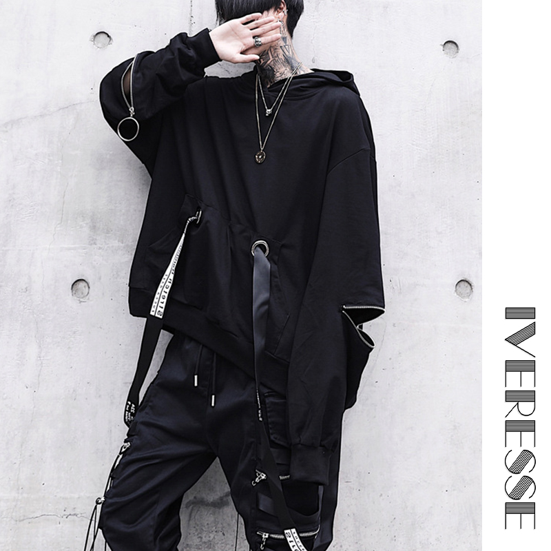 Hooded Hoodies Sweatshirts with Black Gown Mantle Fashion Jacket Cloak Men's Coats Casual Outerwear Letter Ribbons Hip Hop Men