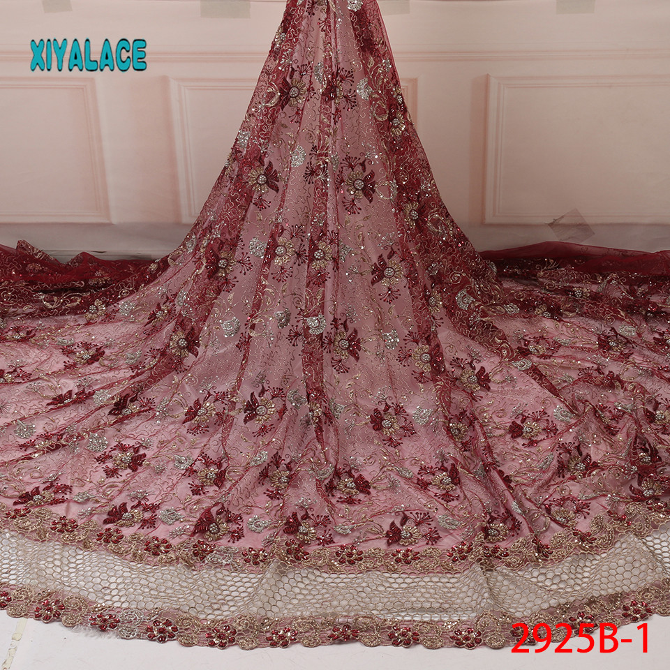 African Lace Fabric Latest High Quality 2019 Lace Handmade French Lace Fabric Bridal Lace For Nigerian Party Dress YA2924B-1