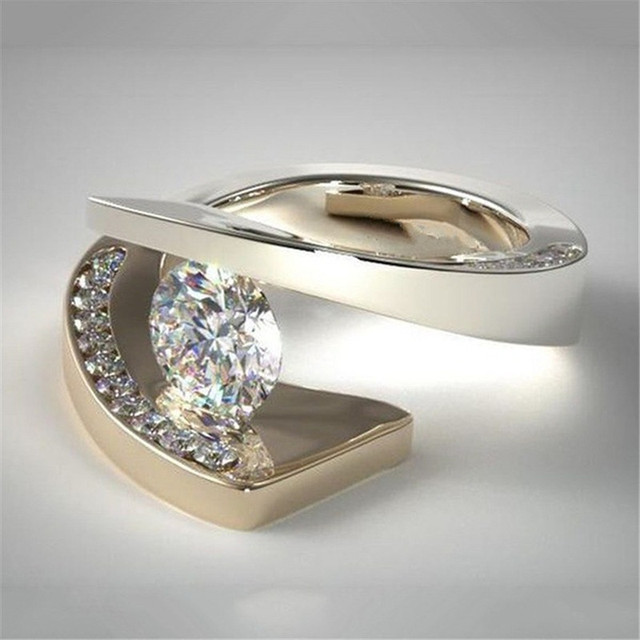 Crystal Zircon Ring Luxury Fashion Gold Color 925 Silver Promise Engagement 3