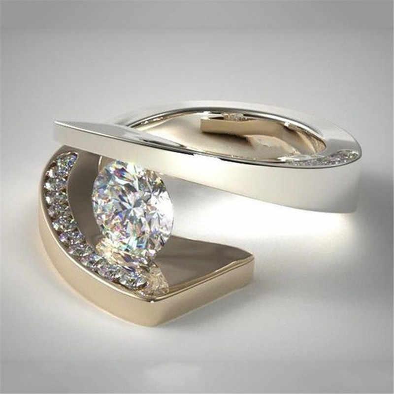 สไตล์ที่ไม่ซ้ำกันขนาดเล็กคริสตัล Zircon แหวนแฟชั่นหรูหราทองเครื่องประดับ 925 เงินสัญญาหมั้นแหวน