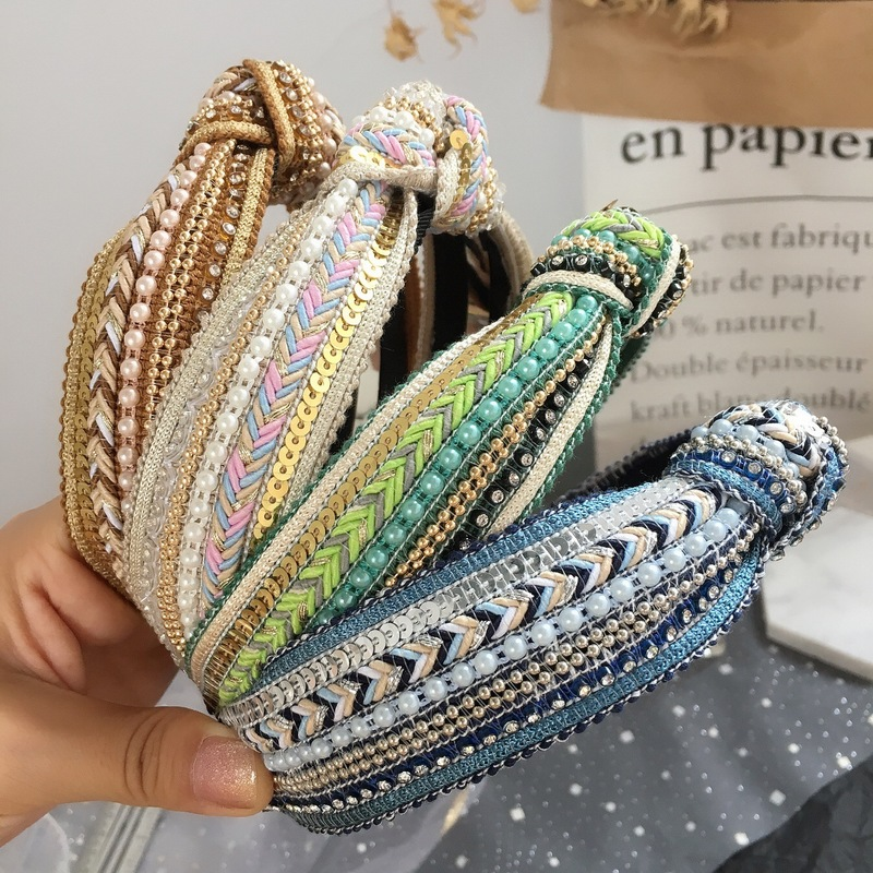 2019 New Korean Style Cute Sequin Weaving Beads Simple Headbands For Girl Women Fashion Hair Accessories