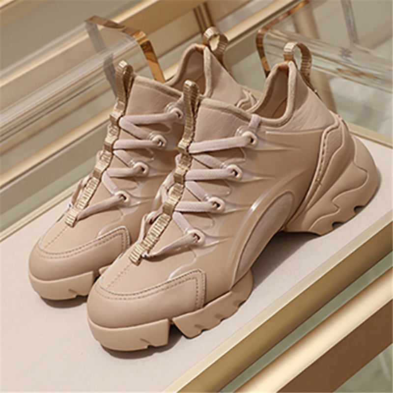 New Fashion Casual Shoes Female Sports White Walking Comfortable Pink Pattern High Quality Increased Women's Sneakers Size 35-41