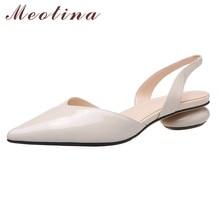 Meotina Natural Genuine Leather Low Heel Slingbacks Shoes Women Pumps Pointed Toe Strange Style Heels Footwear Summer Apricot