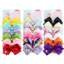 6 PC Fashion Rainbow Printed Knot Ribbon Bow Hair Chip For Girls Hair Band Head Wrap Fitness Gym Sportswear(China)