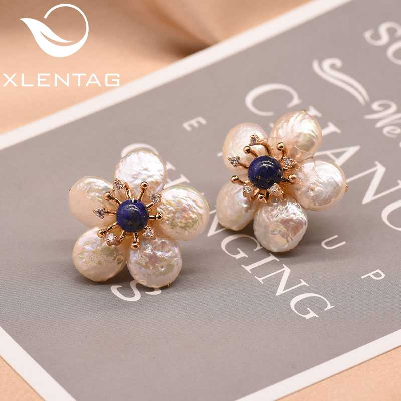 XlentAg Natural Fresh Water Baroque Pearl Lapis Lazuli Flower Stud Earrings For Women 925 Sterling Silver Fine Jewellery GE0598