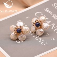 лучшая цена XlentAg Natural Fresh Water Baroque Pearl Lapis Lazuli Flower Stud Earrings For Women 925 Sterling Silver Fine Jewellery GE0598