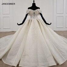 HTL1171 2020 abito da sposa off spalla di applique perline di cristallo di lusso pizzo su indietro maniche corte abiti da sposa robe de marie