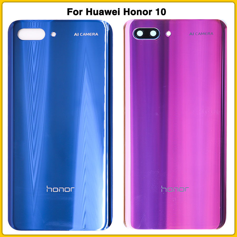 New Honor10 Rear Housing Case Glass For Huawei Honor 10 Battery Back Cover Door Rear Cover Panel Replacement With Glass Lens